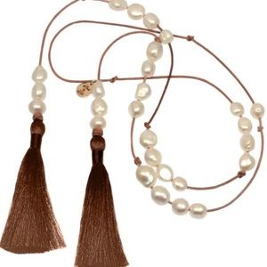 Jewelry - Genuine Pearl Signed Tassel Necklace